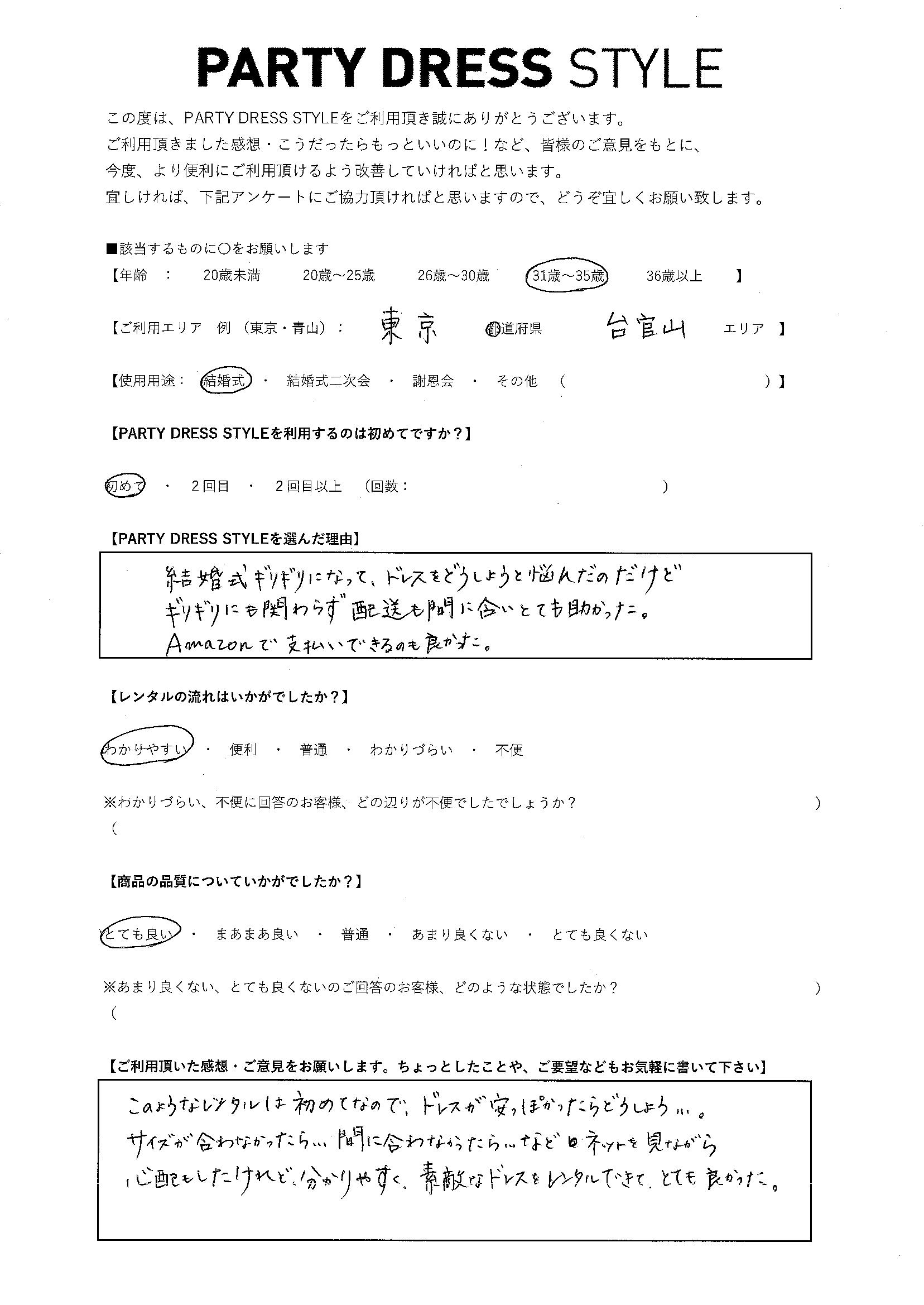 8/26結婚式ご利用 東京・代官山エリア
