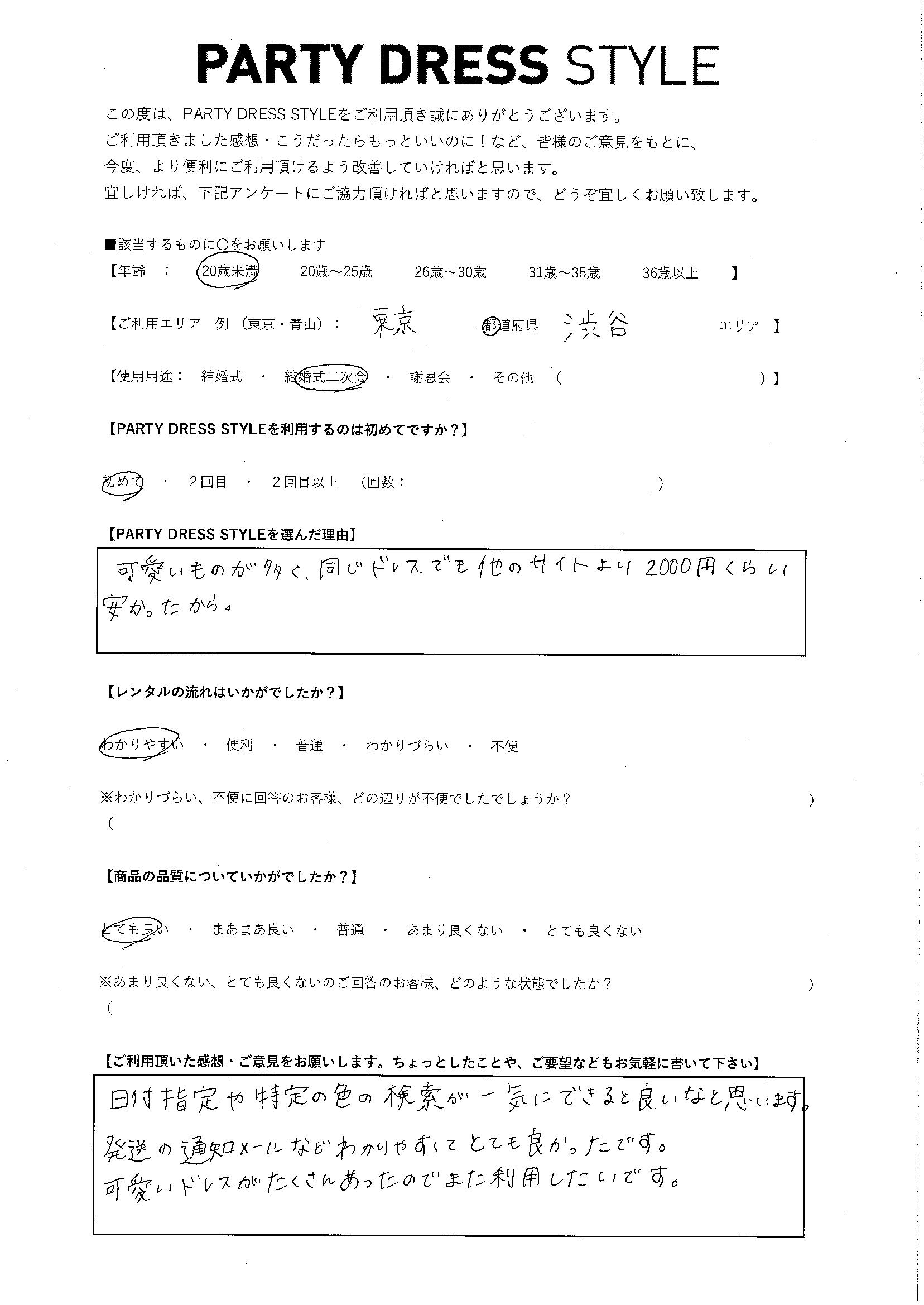 3/23 結婚式二次会 東京・渋谷エリア