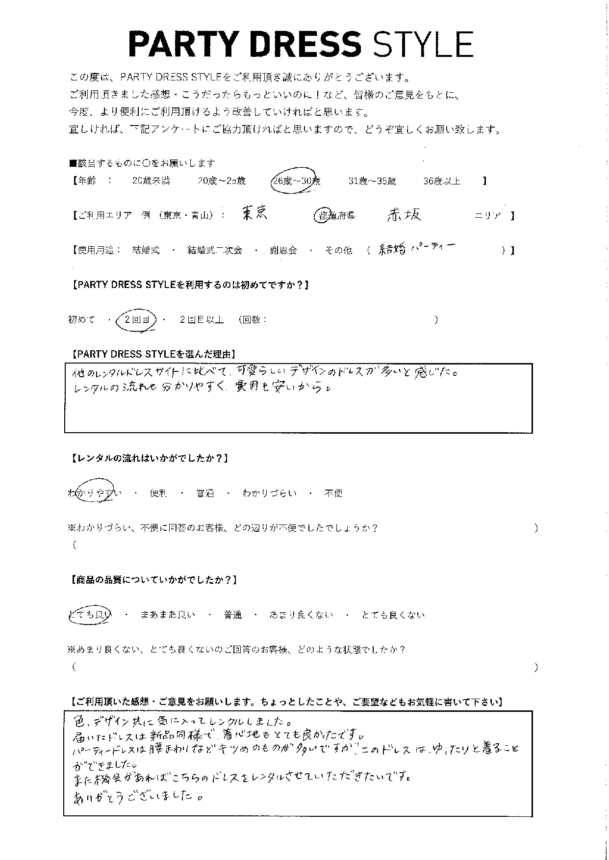 11/10結婚式ご利用 東京・赤坂エリア