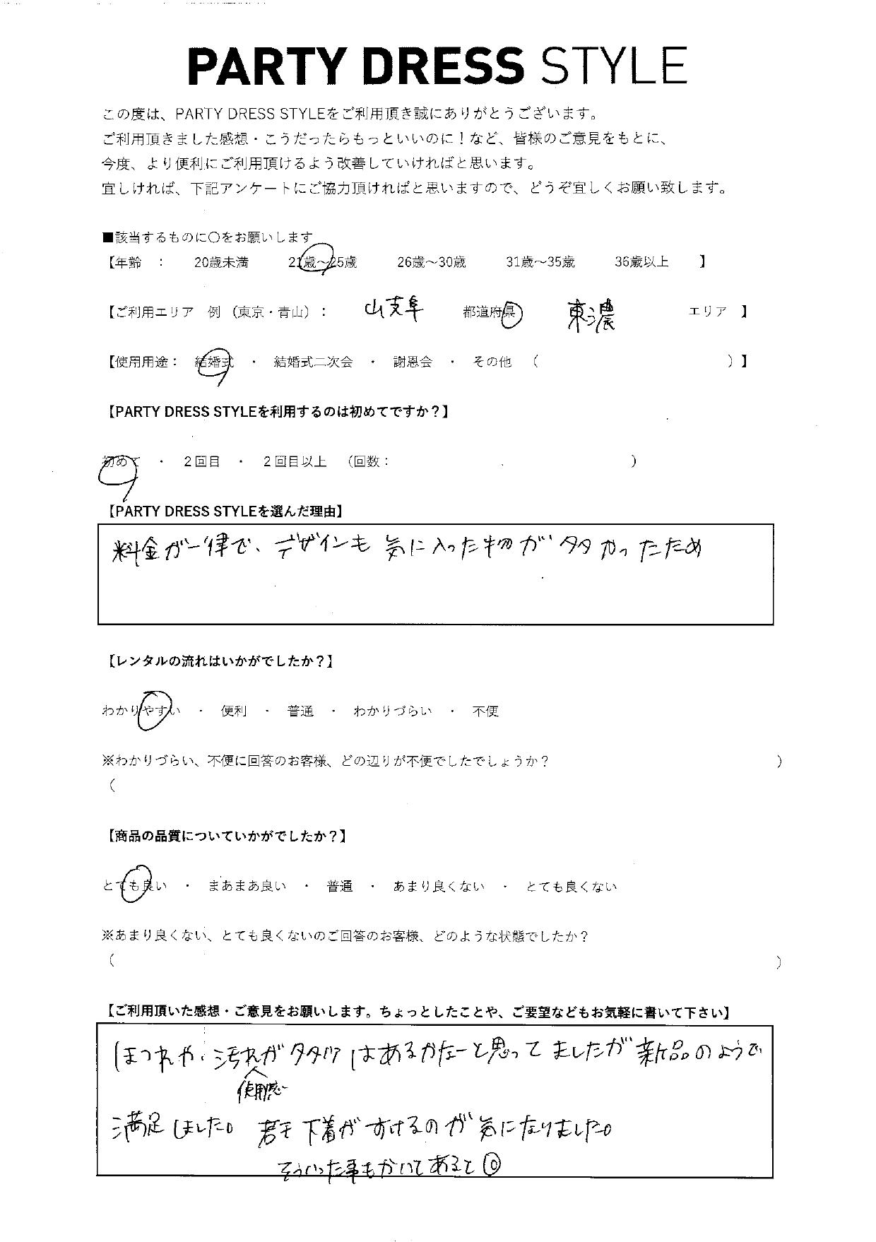 4/5結婚式ご利用 岐阜県・東濃エリア