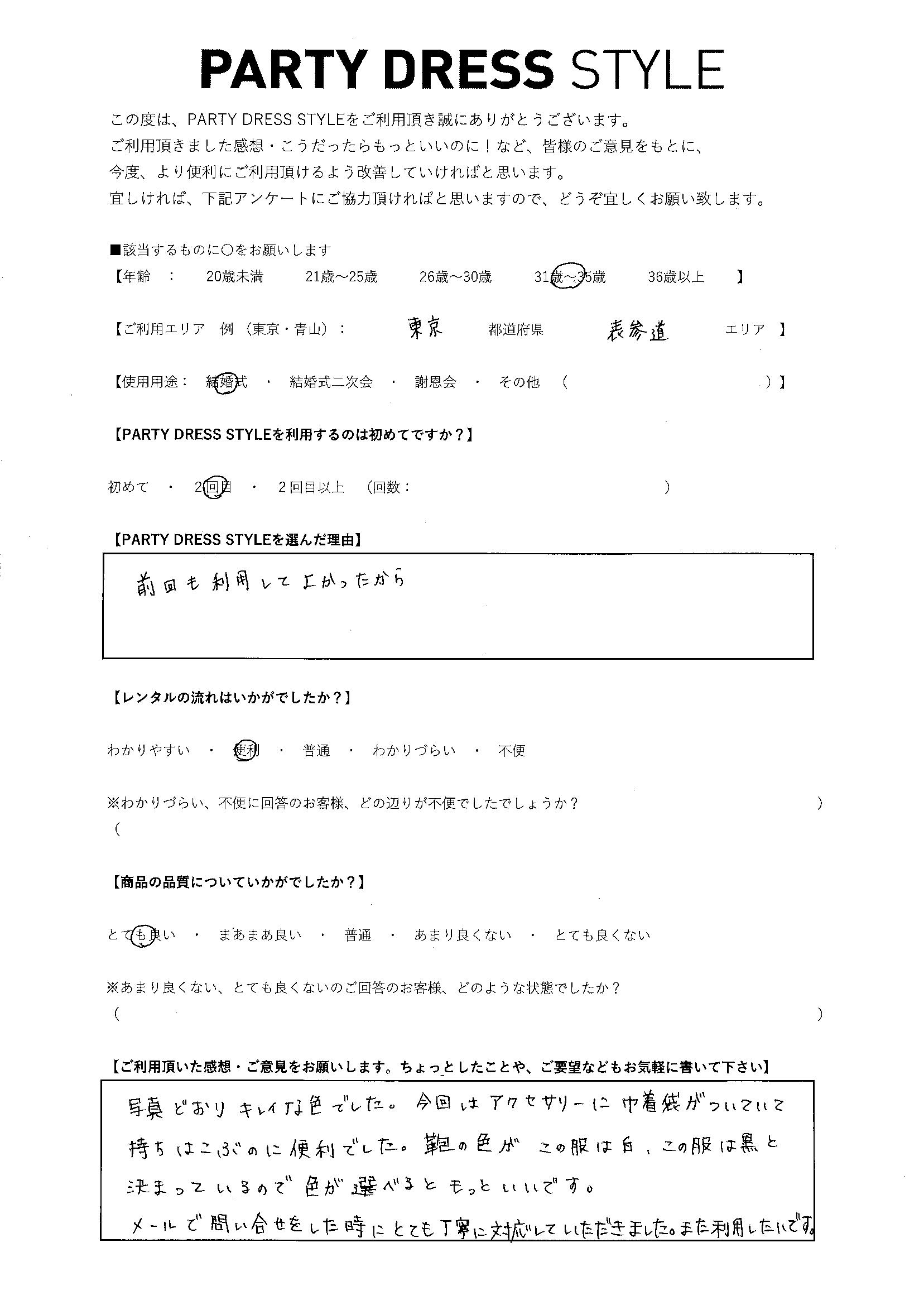7/26結婚式ご利用 東京・表参道エリア