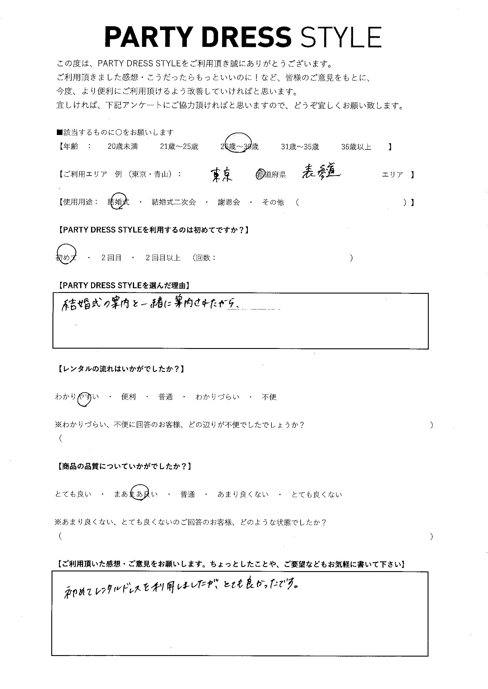 8/29結婚式ご利用 東京・表参道エリア