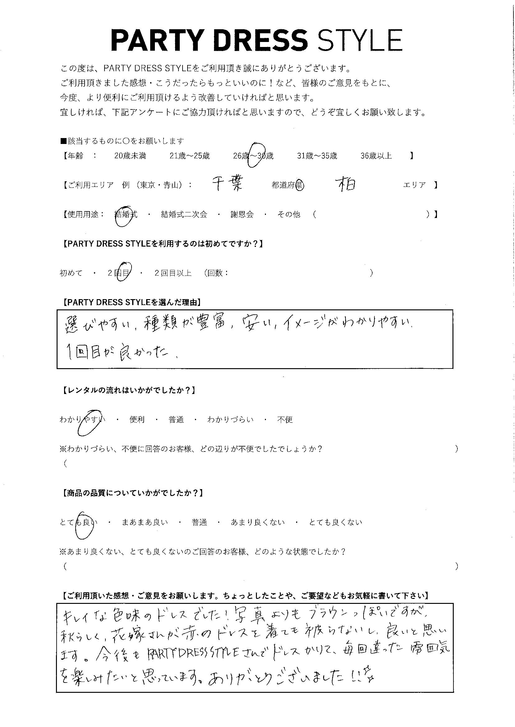 9/22結婚式ご利用 千葉・柏エリア