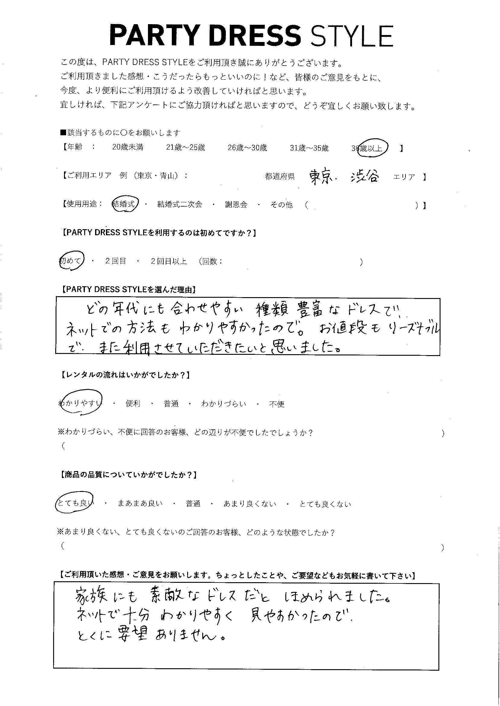 10/4結婚式ご利用 東京・渋谷エリア