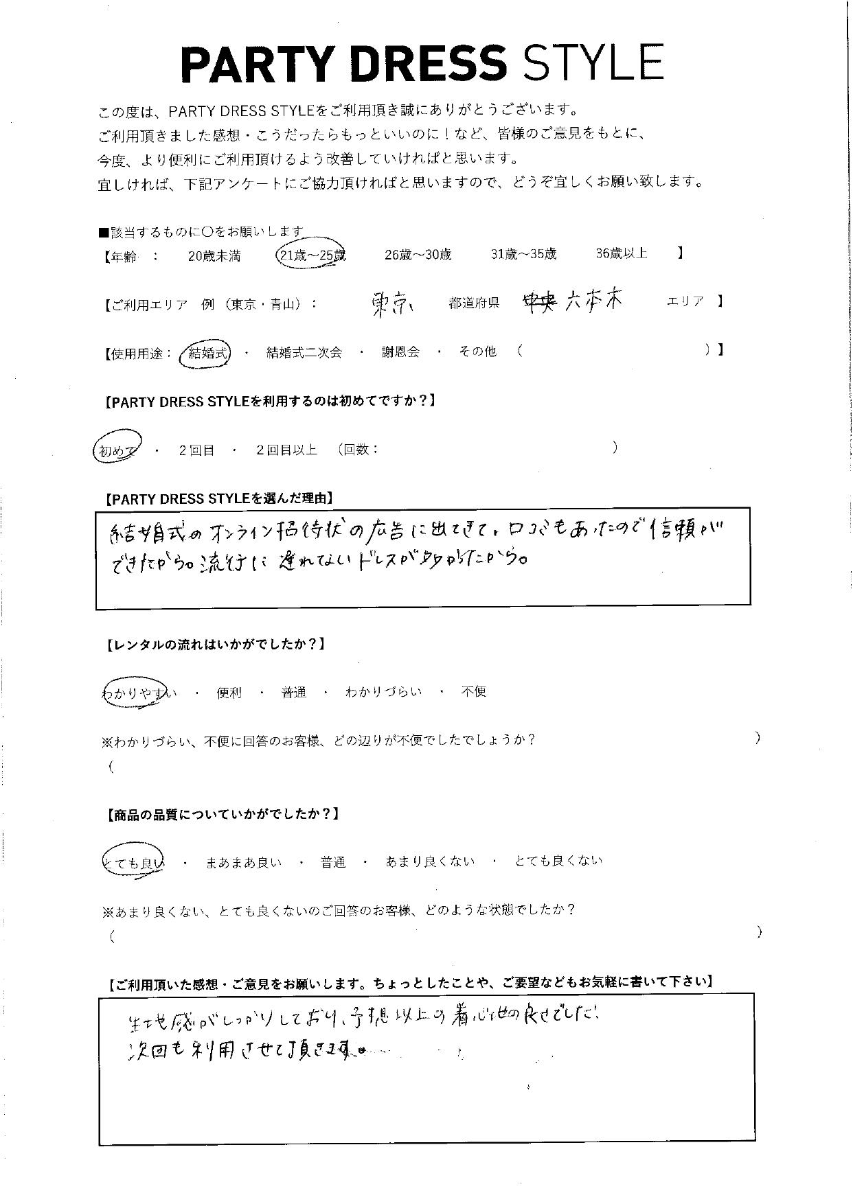 11/21結婚式ご利用 東京・六本木エリア