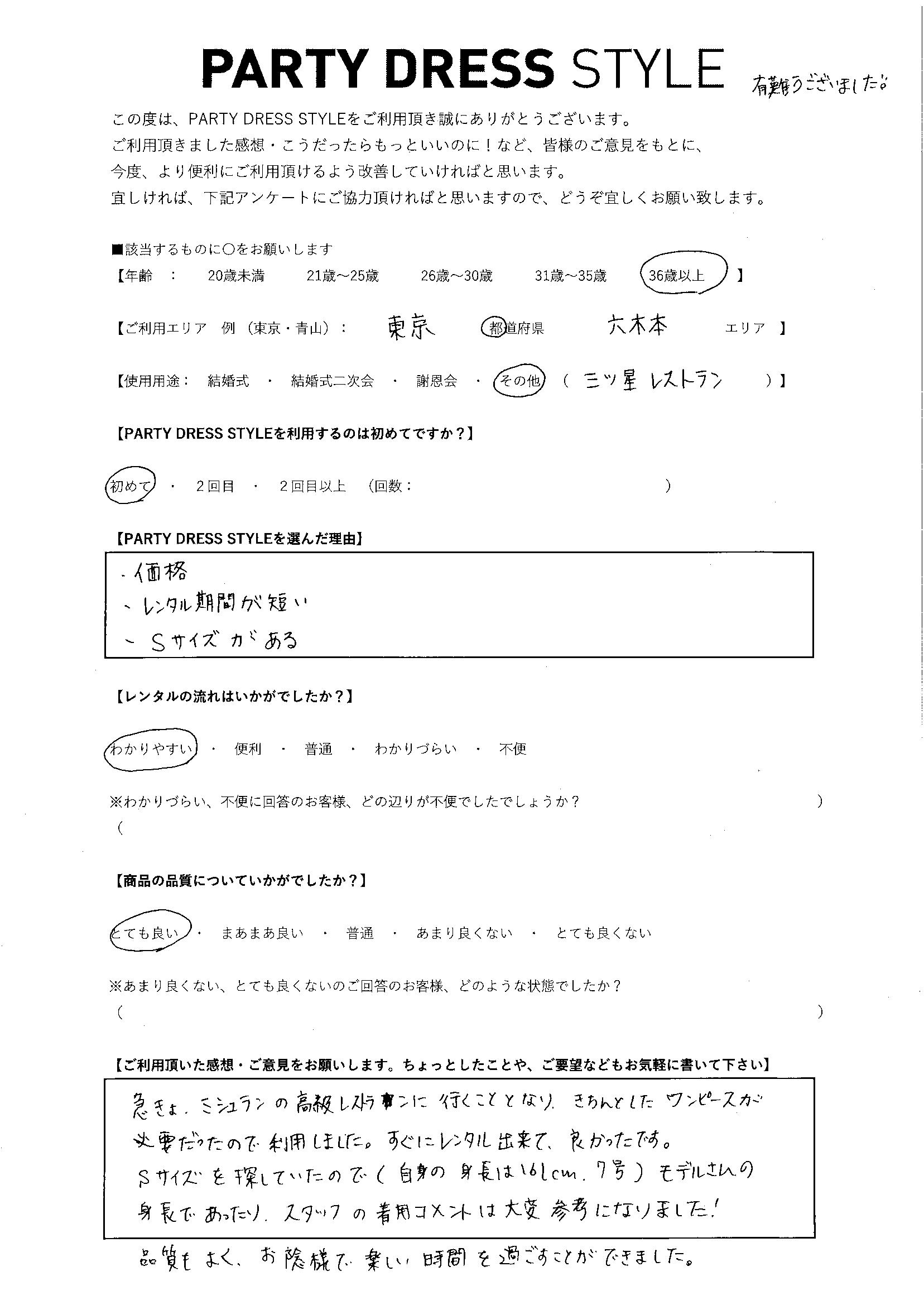 2/13食事会ご利用 東京・六本木エリア