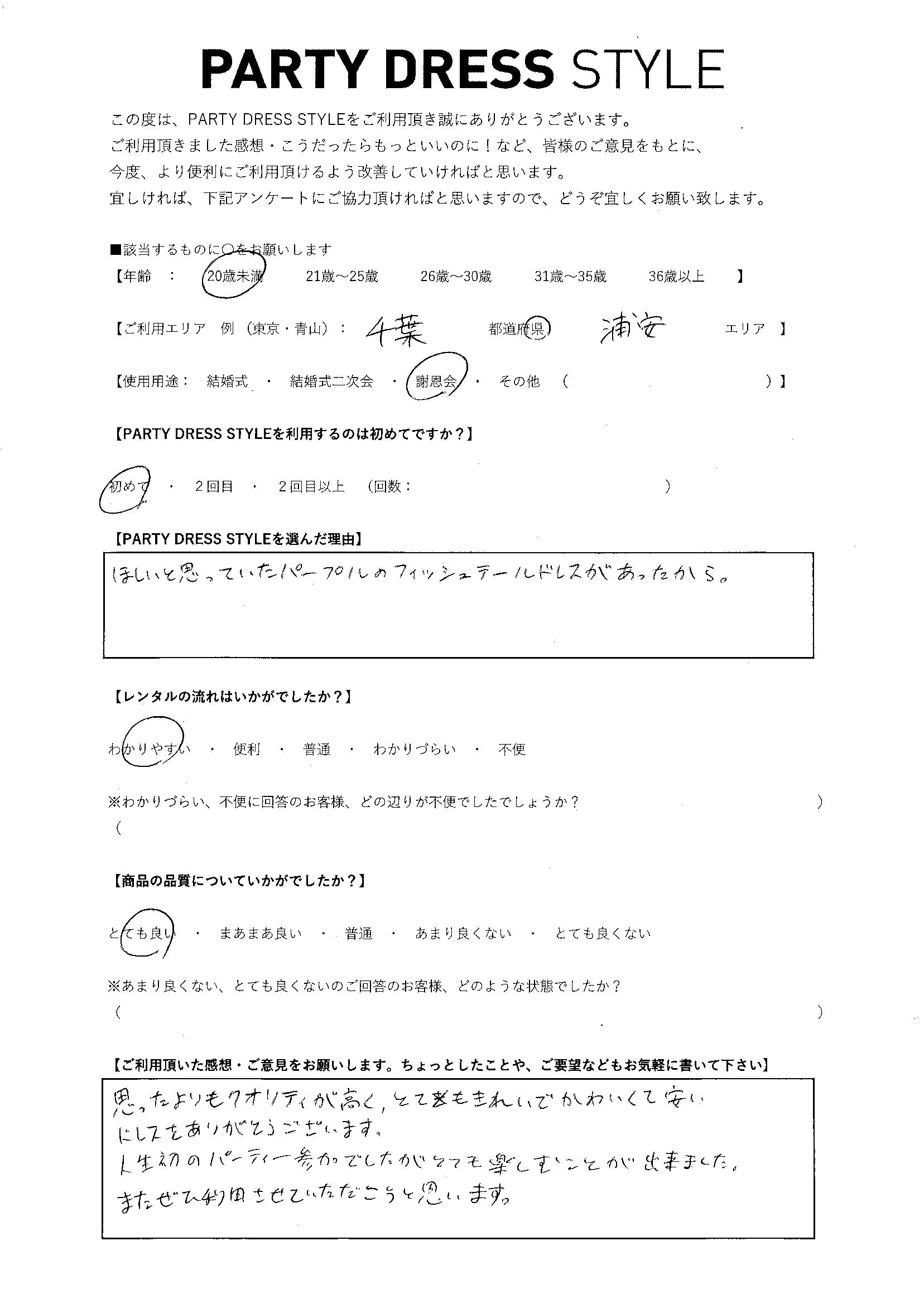 3/19謝恩会ご利用 千葉・浦安エリア