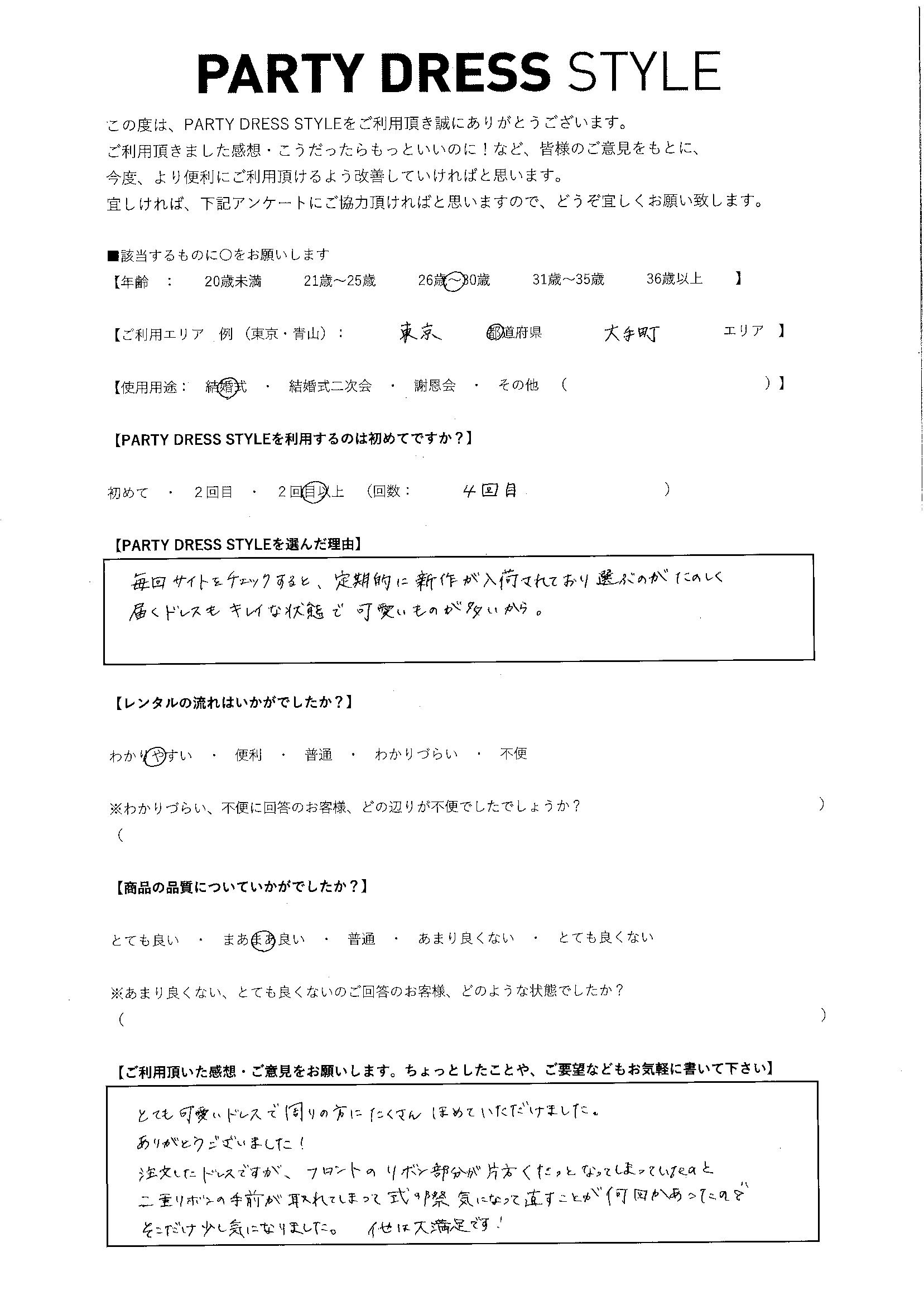 2/27結婚式ご利用 東京・大手町エリア