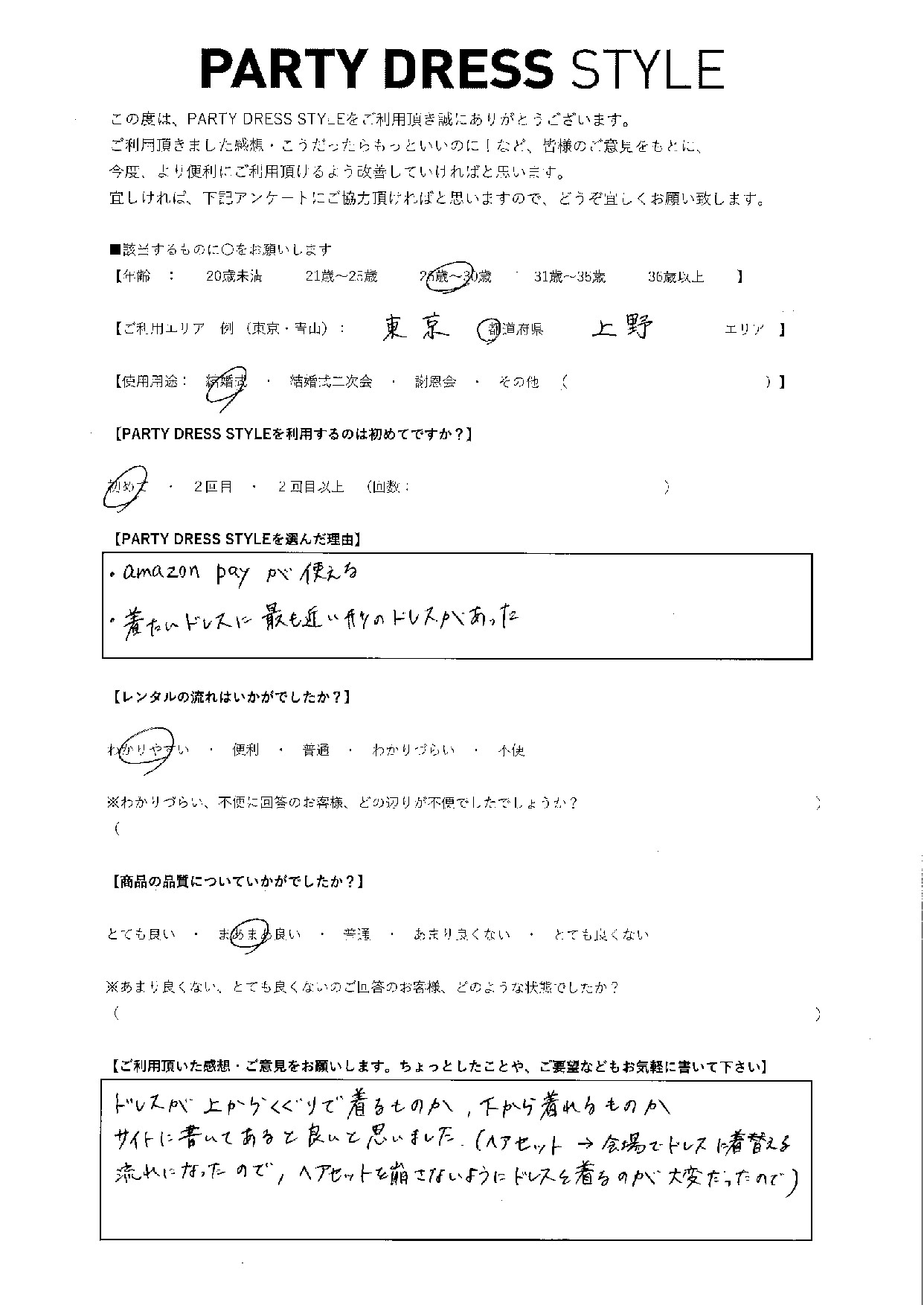 3/13結婚式ご利用 東京・上野エリア