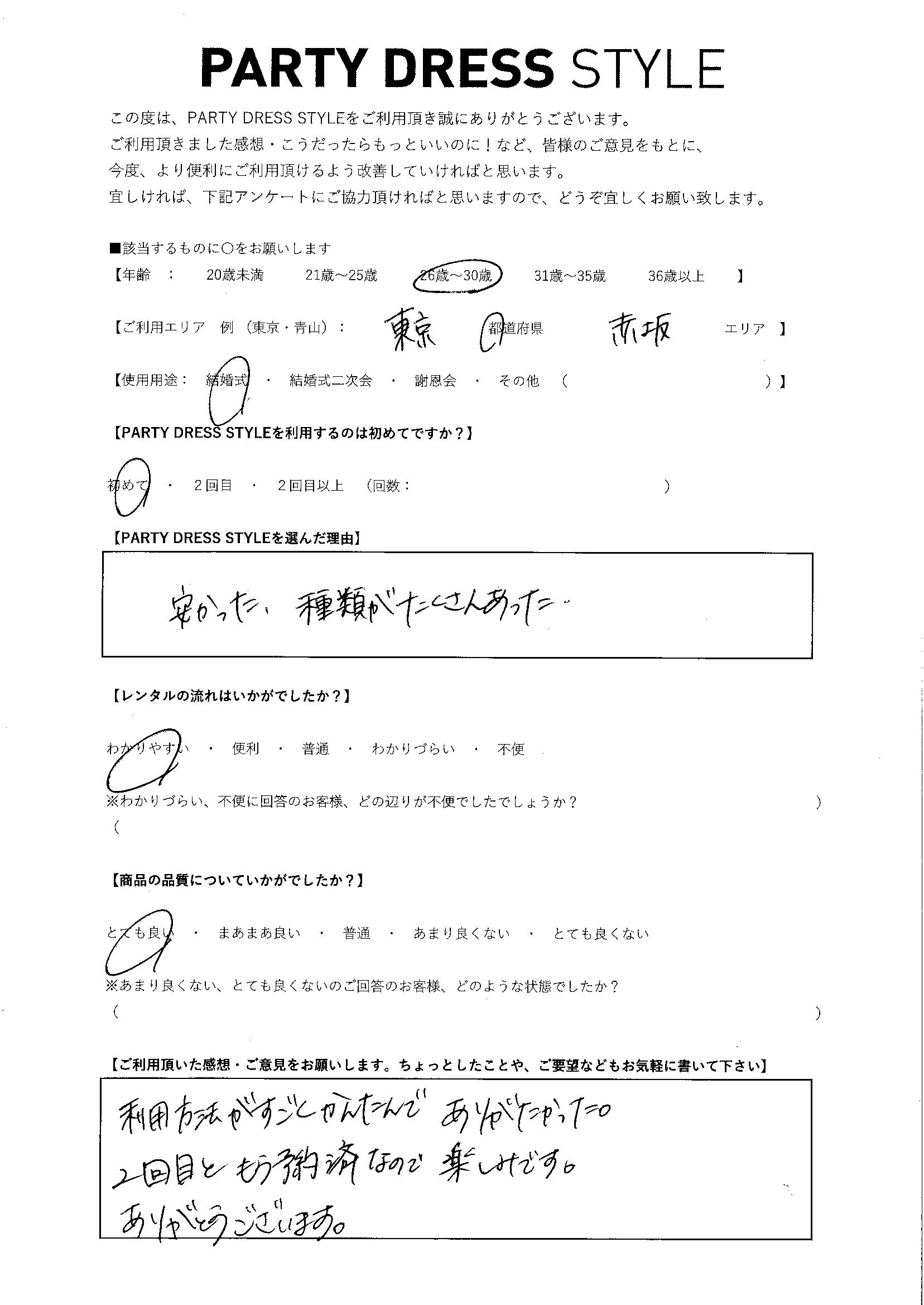 3/28結婚式ご利用 東京・赤坂エリア