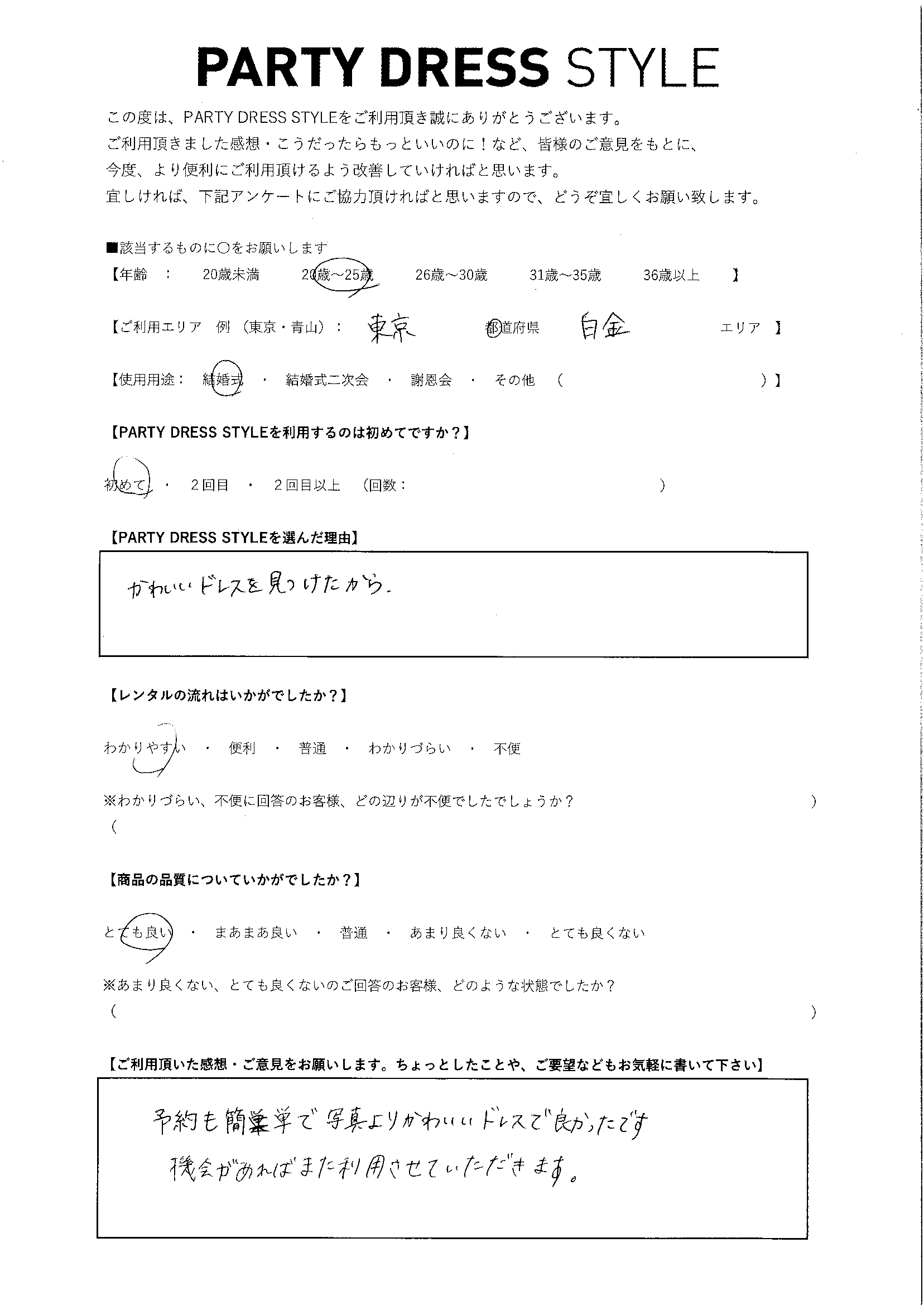 4/24結婚式ご利用 東京・白金エリア