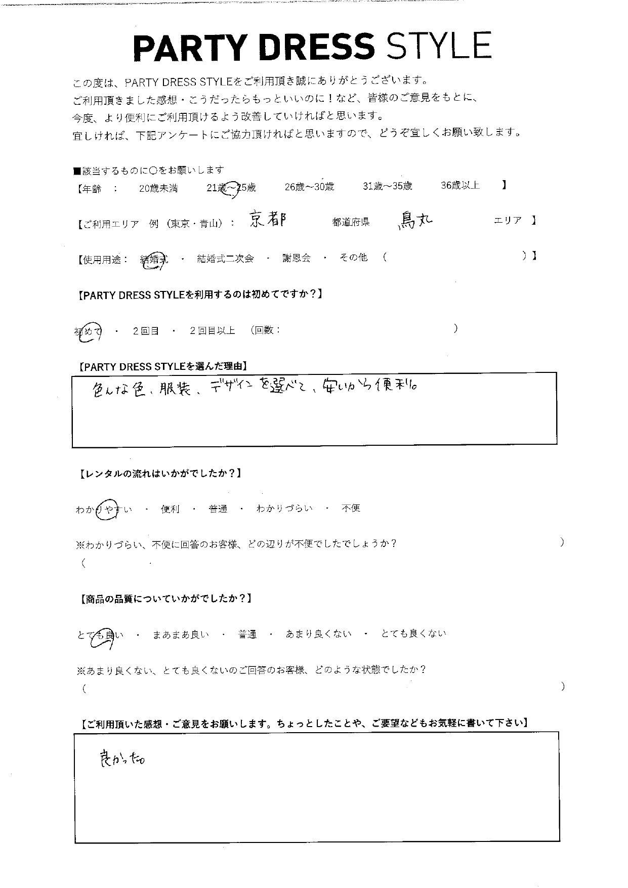 5/15結婚式ご利用 京都・鳥丸エリア