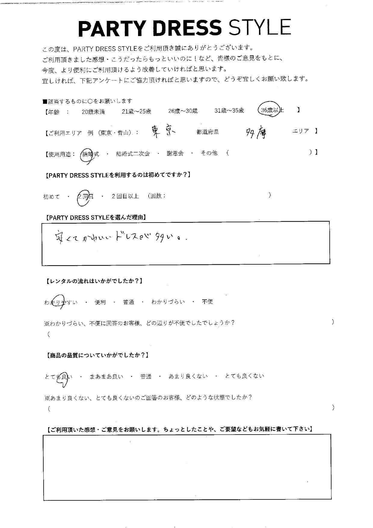 6/5結婚式ご利用 東京・多摩エリア