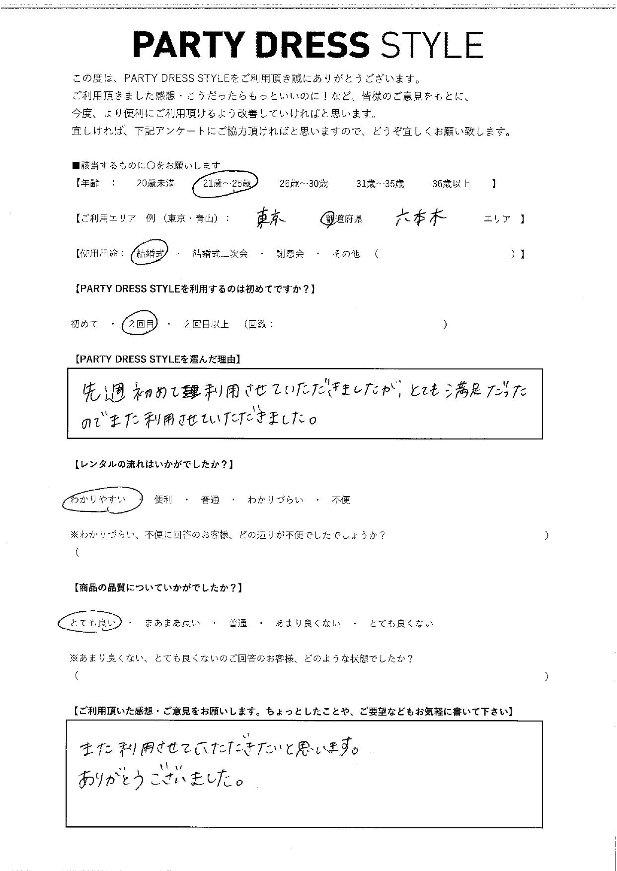 8/22結婚式ご利用 東京・六本木エリア