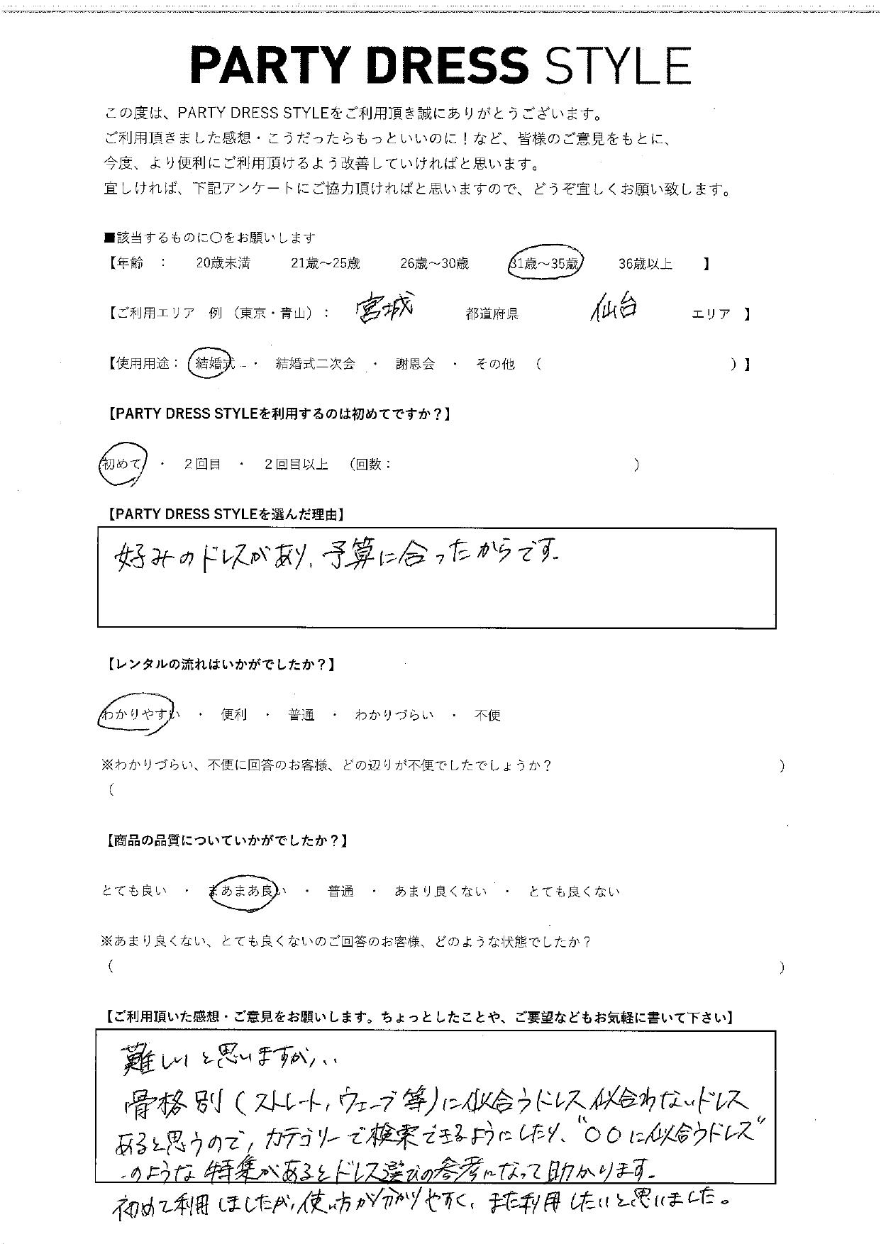 8/21結婚式ご利用 宮城・仙台エリア