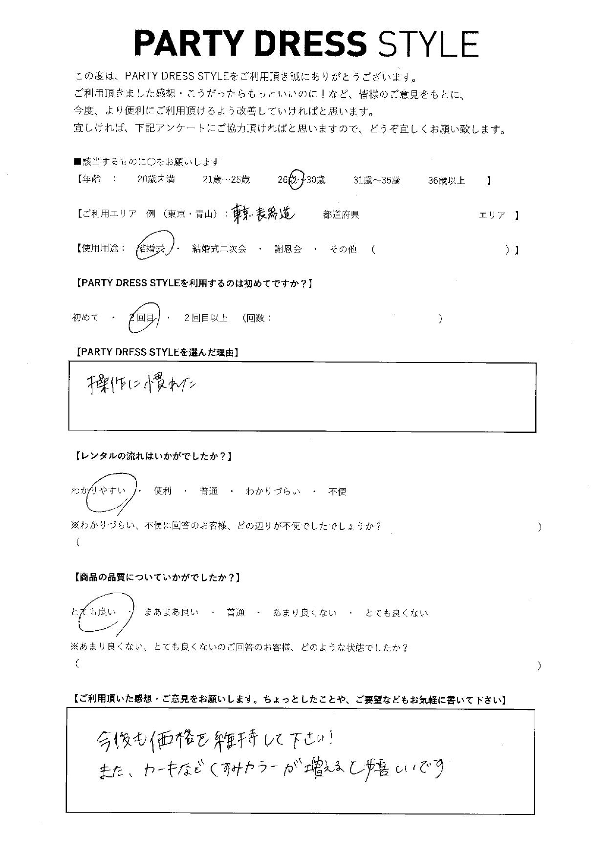 8/28結婚式ご利用 東京・表参道エリア