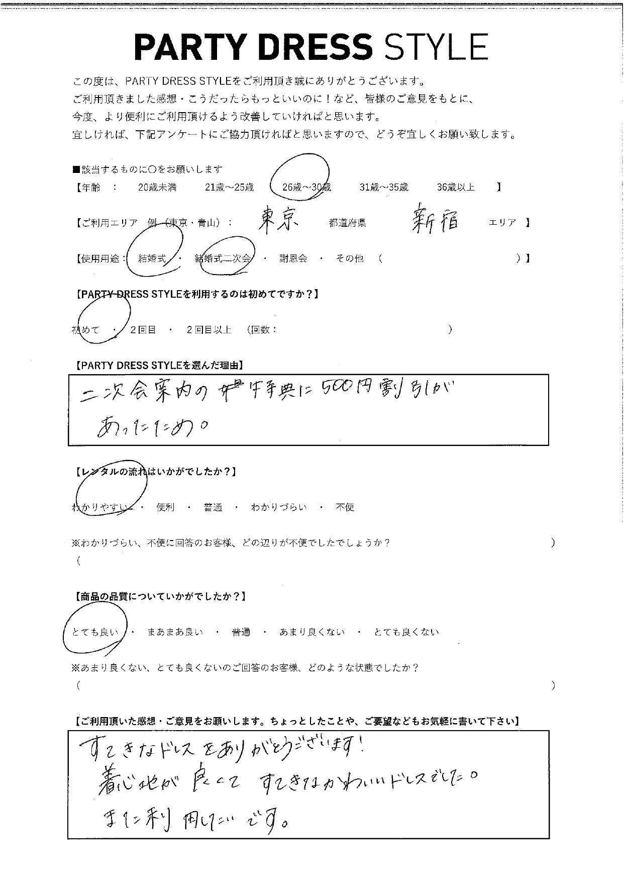 二次会案内の特典に500円割引があったため。