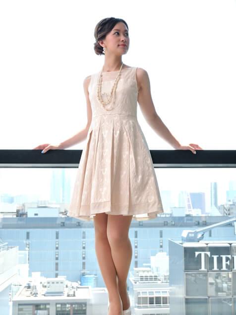 刺繍Aラインドレス(ベージュ)EL1-123BE 結婚式 結婚式二次会 謝恩会 婚活に