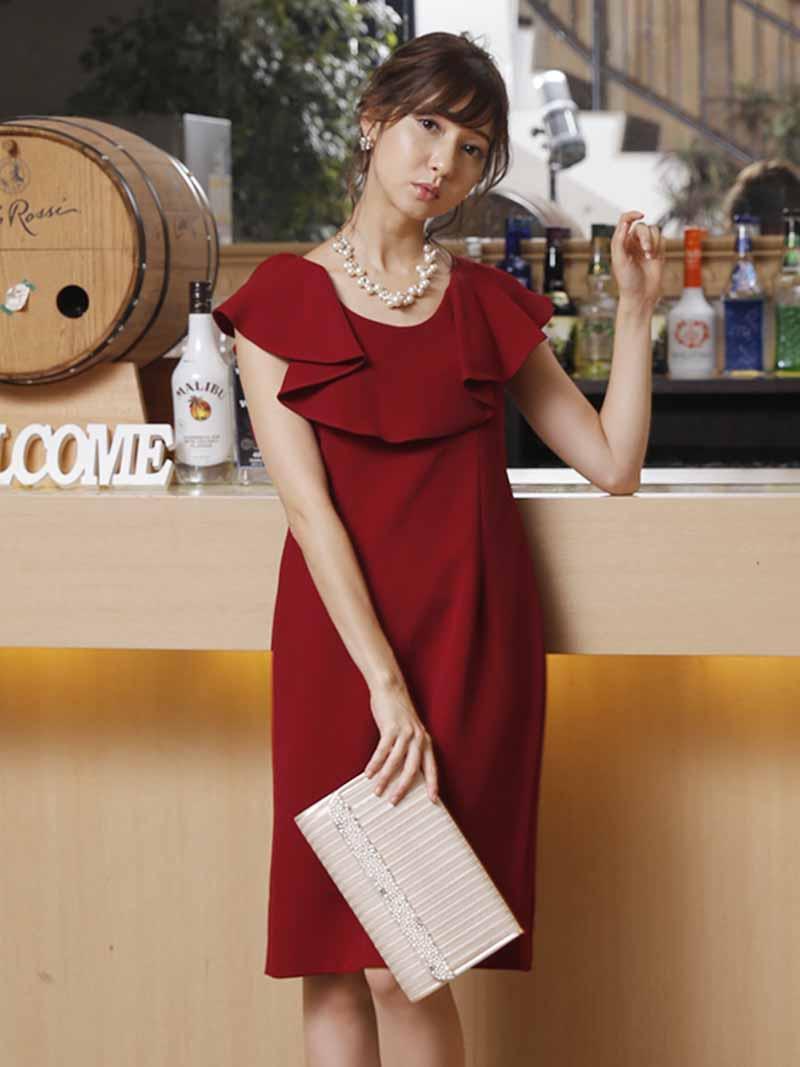 ラッフルタイトドレス(ワインレッド)PD1-239WR-M