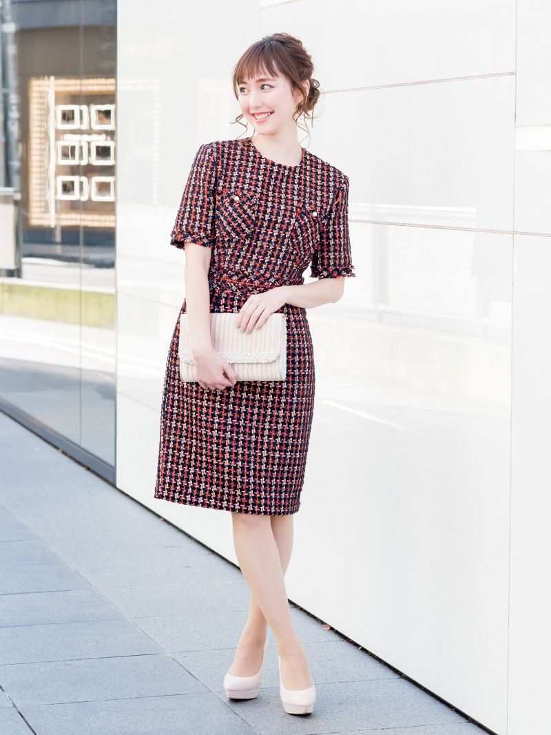 e0c3a00c5827d 商品名:ツィードタイトドレス(レッド)K1-283RE-M