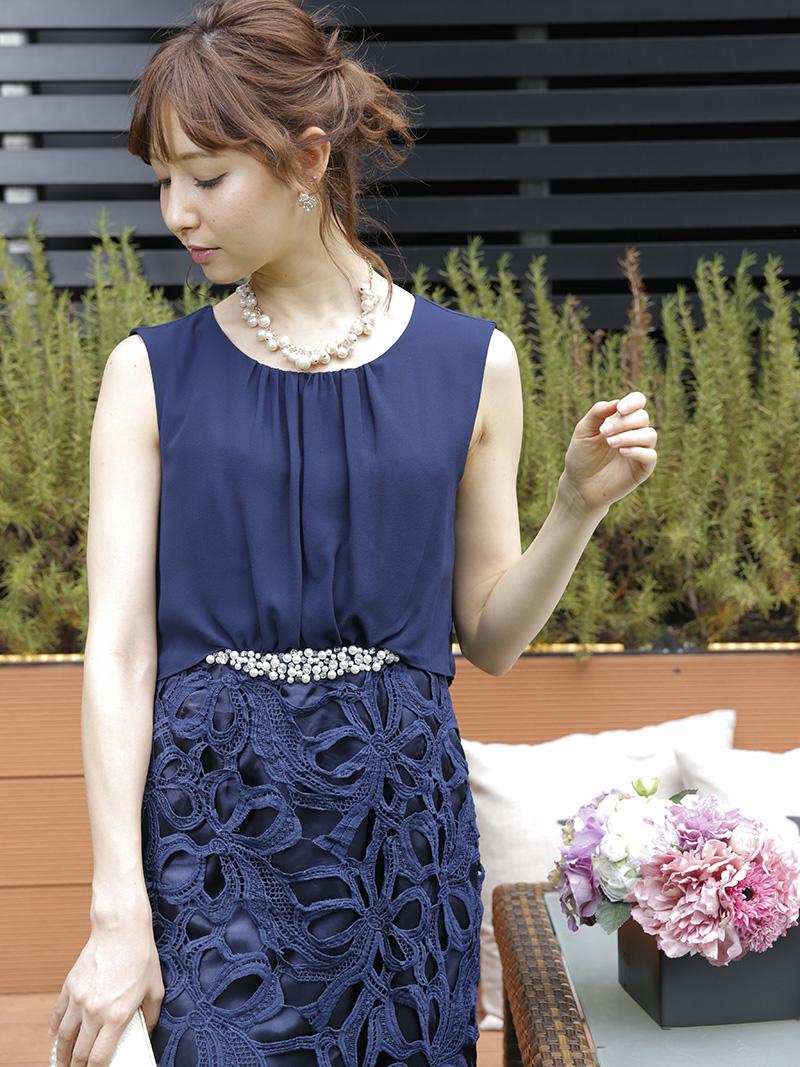 1c3524cf83992 商品名:ケミカルレースタイトドレス(ネイビー)SR1-221NA-M