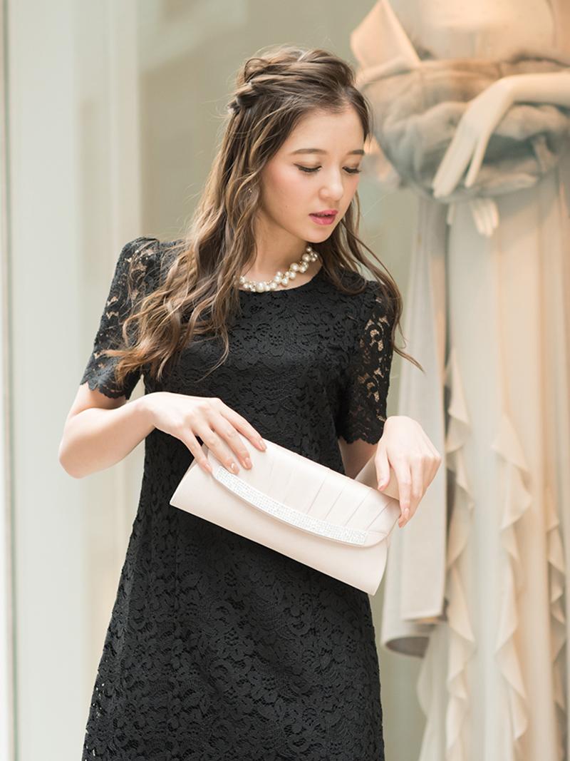 8671033273d7d コードレースタイトドレス(ブラック)K1-262BL-M