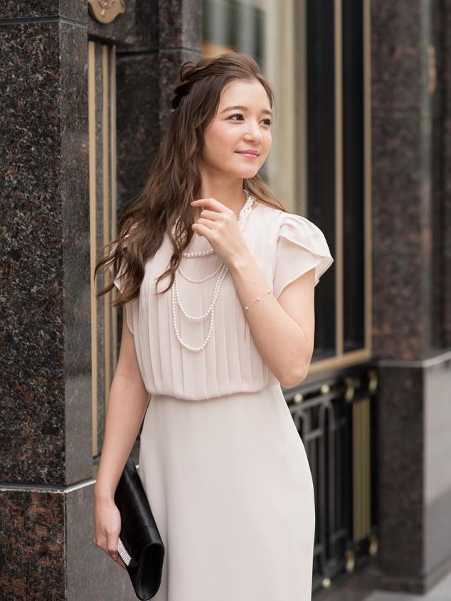 c6a991a10421e プリーツデザインタイトドレス(ベージュ)K1-261BE-M